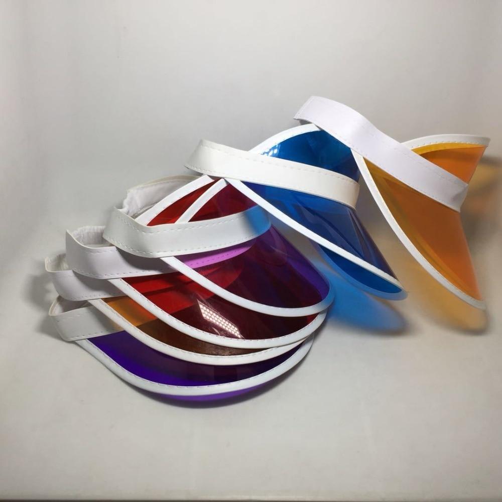 Image 2 - Womens Adjustable 8pcs/lot Candy Transparent PVC Plastic Hats Multicolor Sun Visor Beach Party Caps UV Protection Cycling HatMens Visors   -