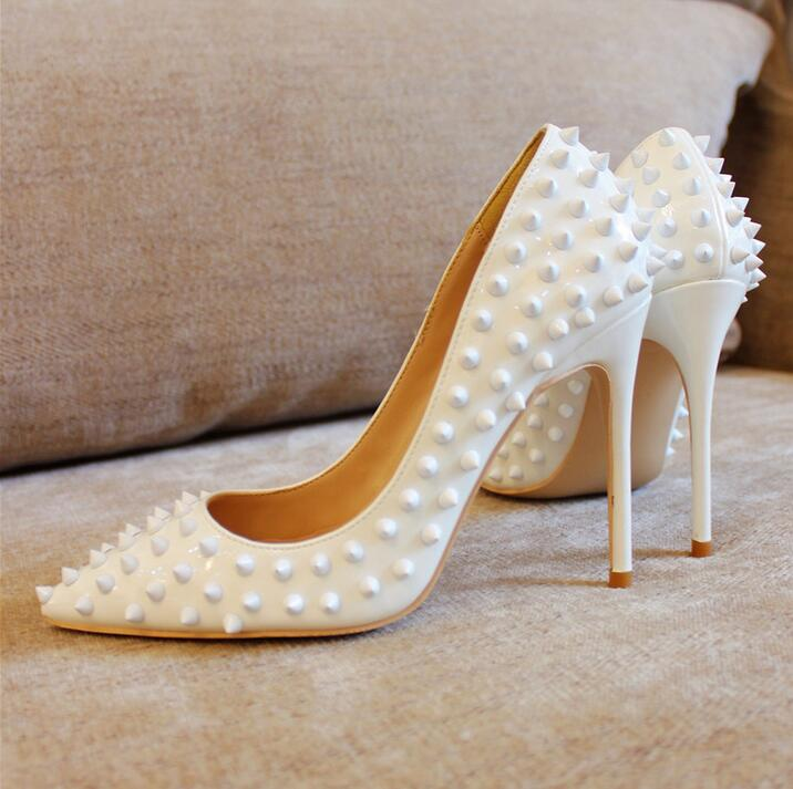 Hot Selling Brand Rivets High Heel Pumps Sale Price Pink Red Gold Nude Spikes Wedding Shoes 12cm High Heel Pumps Women Shoes in Women 39 s Pumps from Shoes