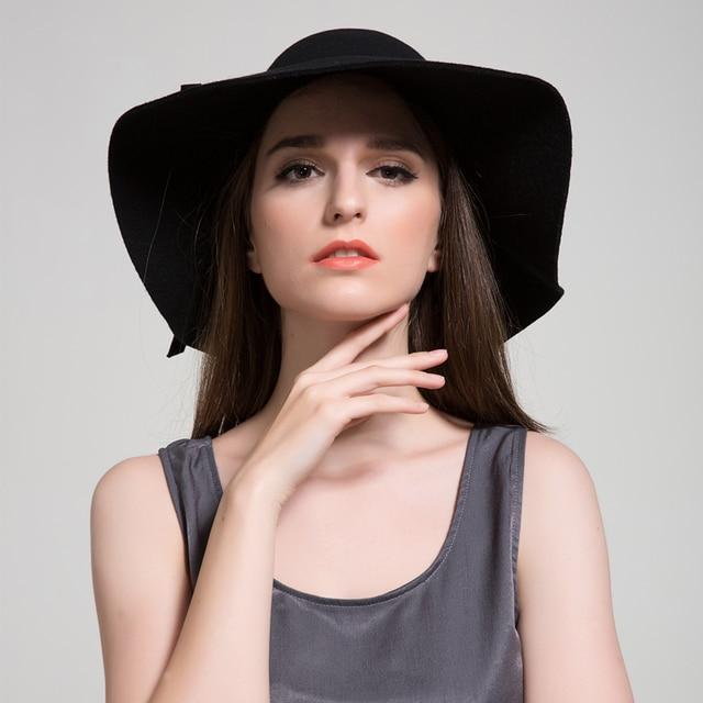 2016 New Style Soft Women Vintage Retro Wide Brim Wool Felt Bowler Fedora Hat Floppy Cloche Sun Hats 10 Colours For Women Brand