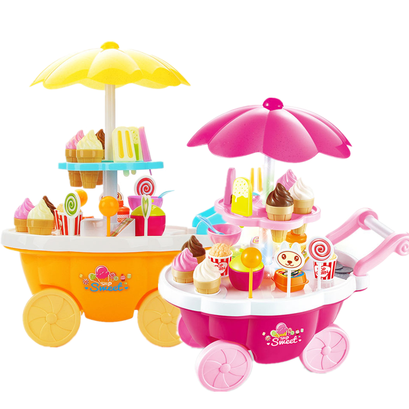 New Candy Cart Ice Cream Shop Cart 2 Colors Mini Music Cute Simulation Toy Children Play Kitchen Boys Girls Toys Gift