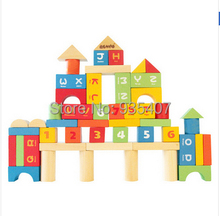 Family 50PCS wooden play better than alphanumeric bagged toy building blocks