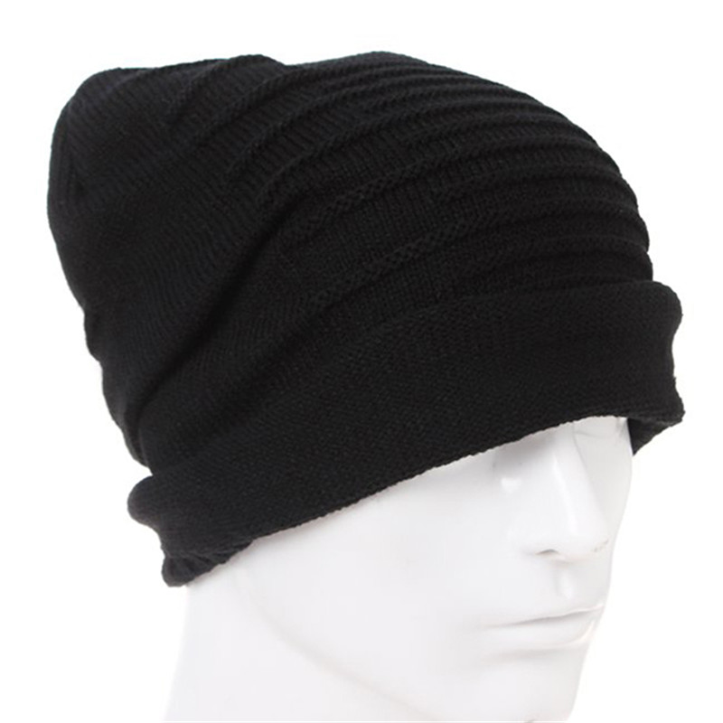 Bigsweety High quality Hat Knitted Wool Cap Winter Unisex Folds Casual   Beanies   Solid Color Hip-Hop   Skullies     Beanie   Hat Woman Men