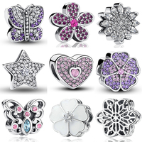 100 S925 Charms Fit Bracelet Necklace 925 Sterling Silver Sweetheart Pink CZ Bead Star Snowflake Purple
