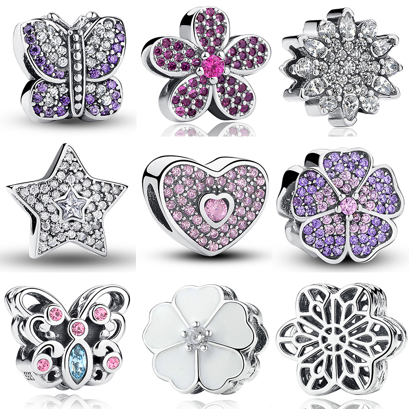 Silver 925 original 925 Sterling Silver Charms Snowflake Star Purple Flower Butterfly Charm Fit Pandora Bracelet strollgirl car keys 100% sterling silver charm beads fit pandora charms silver 925 original bracelet pendant diy jewelry making