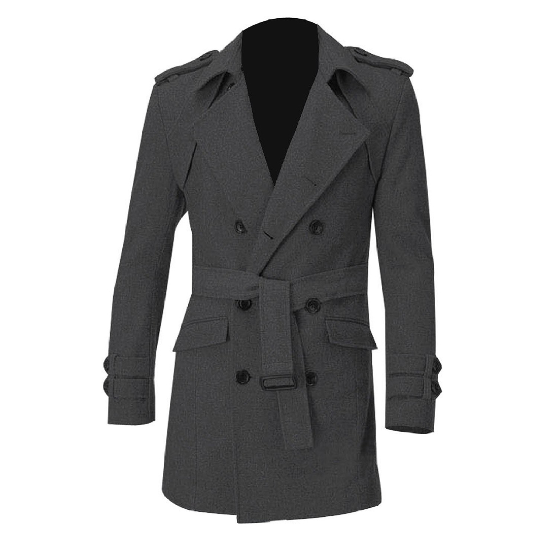 IMC Men Epaulets Slim Fit Double Breasted Belted Worsted Coat