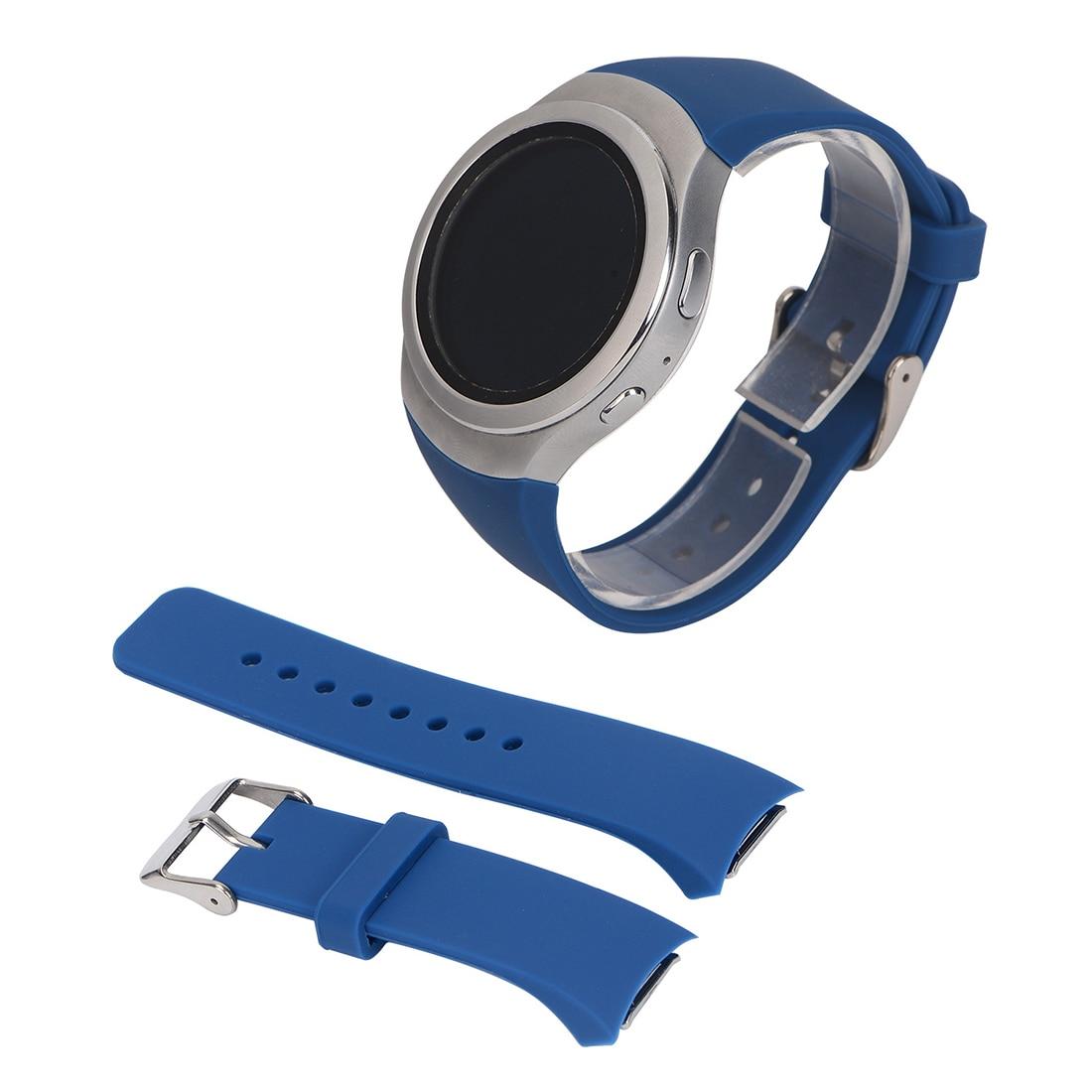 Luxury Silicone Watch Band Strap for Samsung Galaxy S2 Gear SM-R720 Navy blue eache silicone watch band strap replacement watch band can fit for swatch 17mm 19mm men women