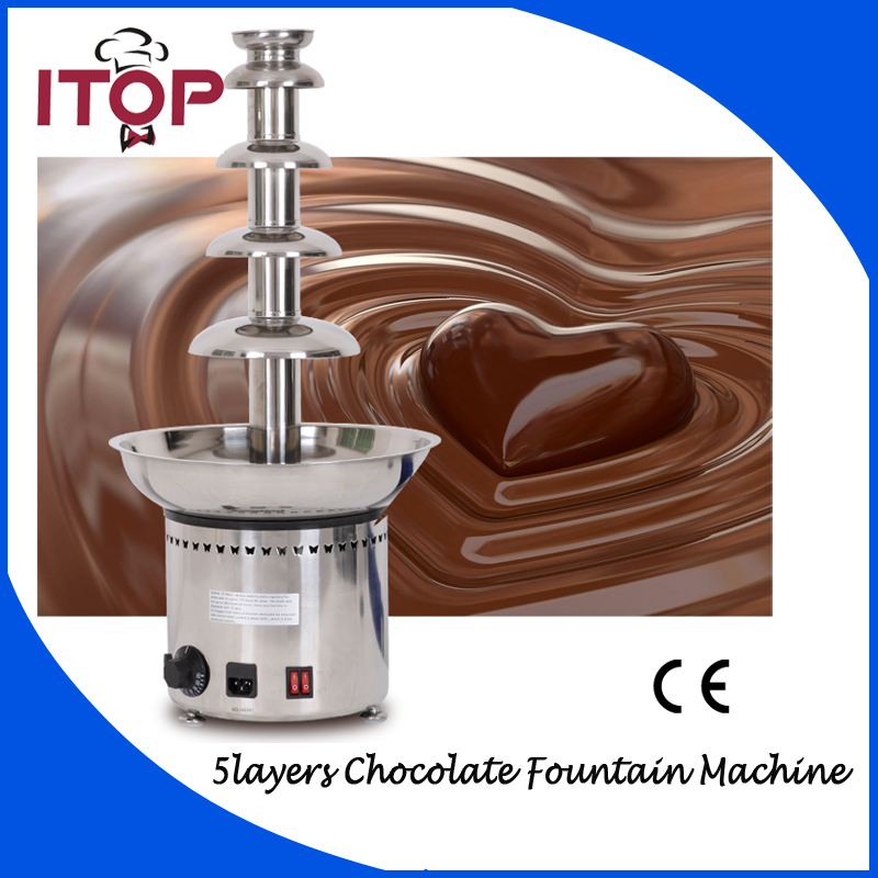 ITOP Chocolate Waterfall Machine  Stocks in UK/DE Melting + Warming Function 5 tiers Commercial Use shipule multi function electric commercial chocolate melting tempering coating machine price