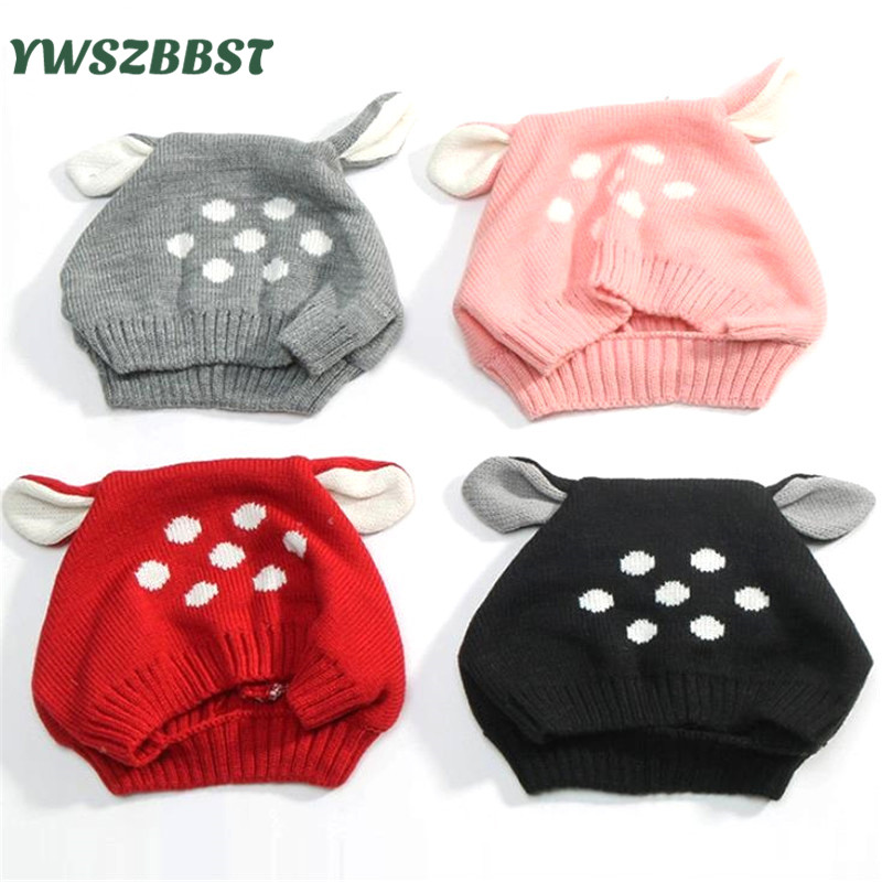 Autumn Winter Toddler Infant Knitted Baby Hat Cute Rabbit Ear Hat with Dots Baby Bunny Beanie Cap Photo Props
