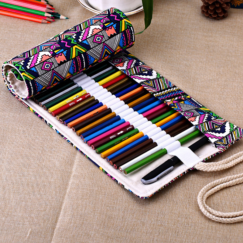 National Canvas School Pencil Case 36/48/72 Holes Roll Up Pencil Bag Portable Pencil Box  School Supplies material escolar good quality 36 48 72 holes canvas pencil case roll up sketch painting pen box school office pencil stationery bag b066