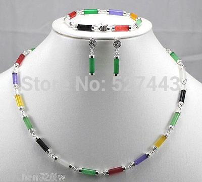 Vente chaude Noble-livraison gratuite>> @> vente en gros JWEW6529 YNatural * pierre naturelle collier bracelet boucles d'oreilles ensembles