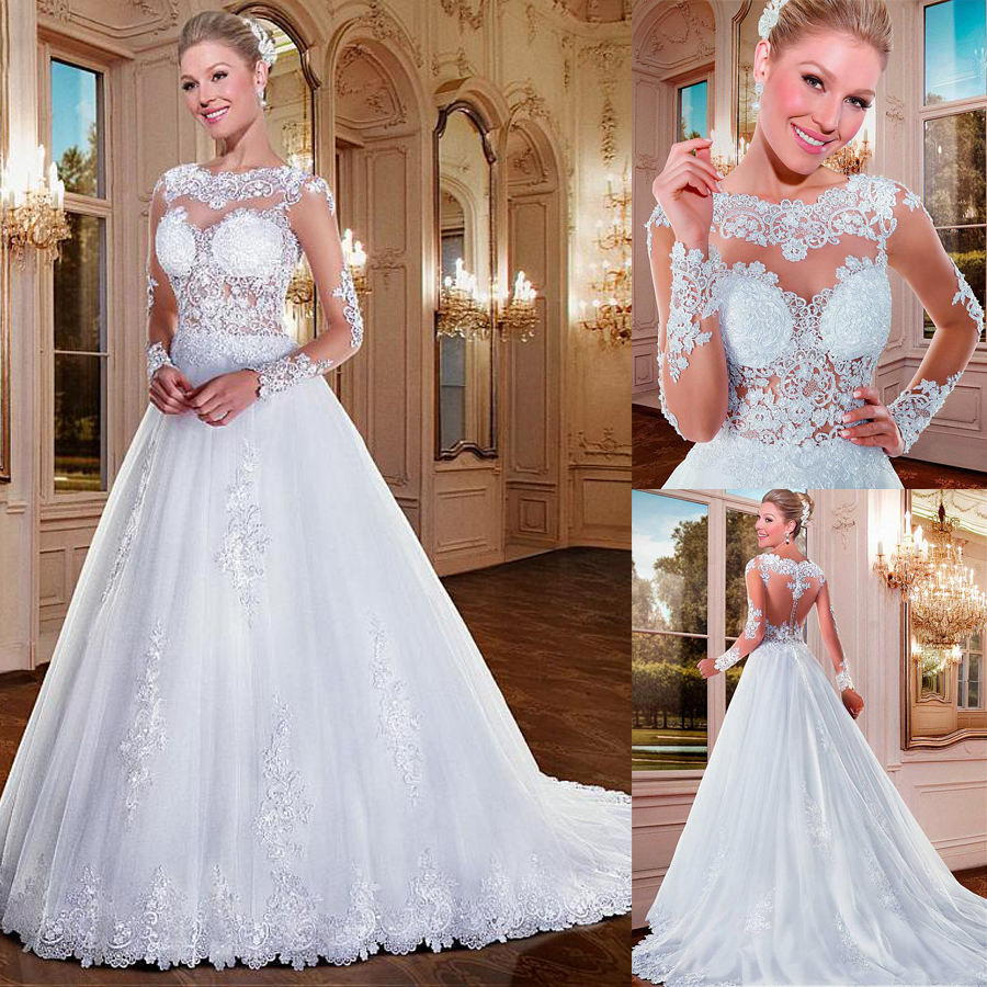 Alluring Tulle Bateau Neckline See-through A-line Wedding Dresses With Beaded Lace Appliques Long Sleeves Bridal Gowns