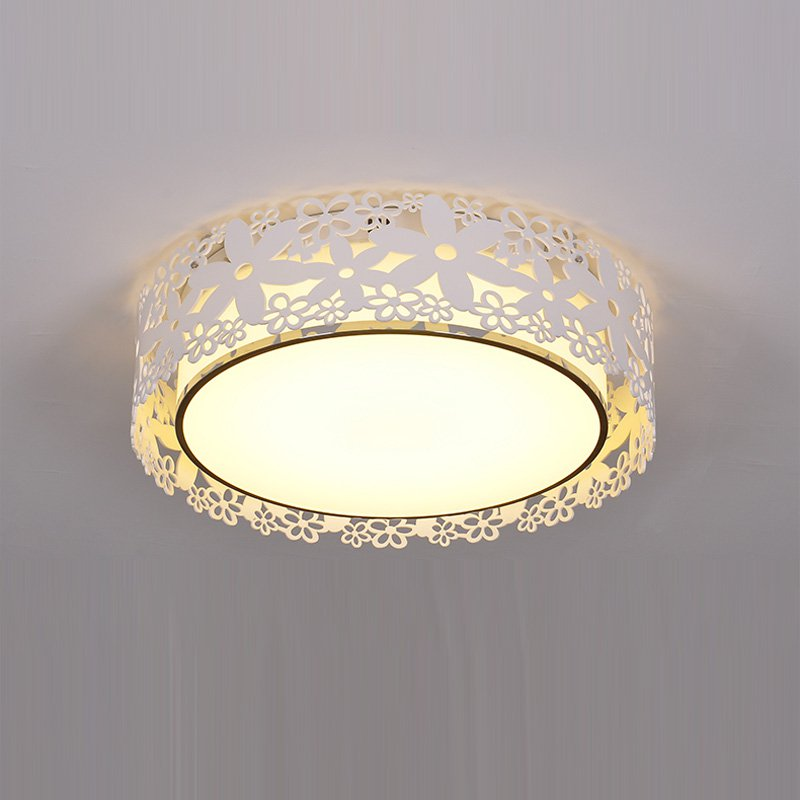 Modern LED Nest Living Room Ceiling Light Romantic White Flower Hollow Out Bedroom Ceiling Lamp Study Room Round Plate Lights noosion modern led ceiling lamp for bedroom room black and white color with crystal plafon techo iluminacion lustre de plafond