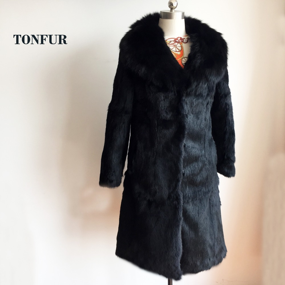 Big Real Fox Fur Collar Long Coat 100% Genuine True Rabbit Fur Overcoat Outwear Lady Customize Big Plus Size WSR66