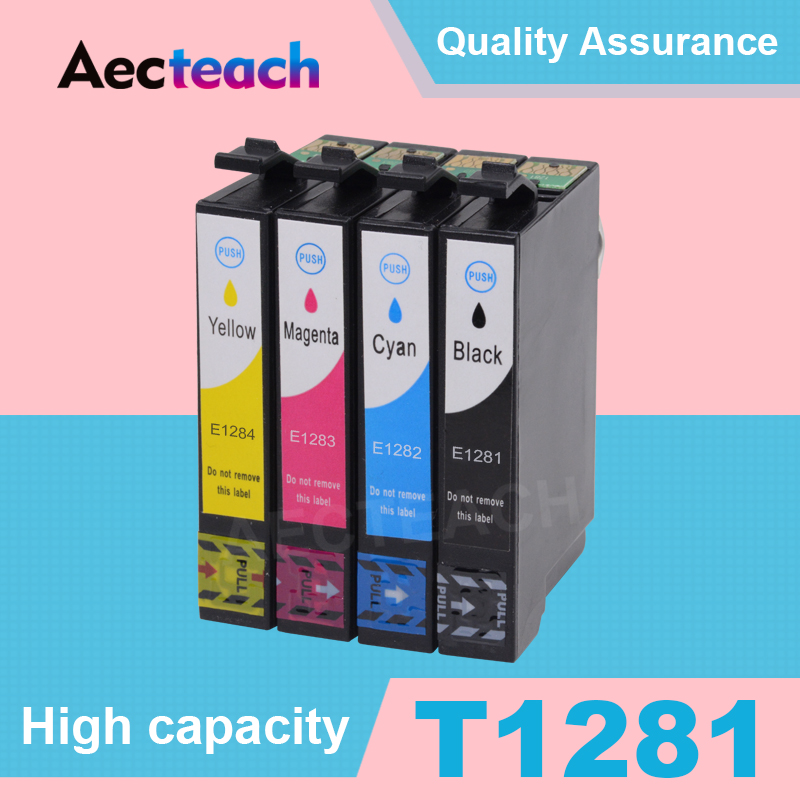 Aecteach Refillable Ink cartridge for EPSON T1281 T1282 T1283 T1284 stylus S22 SX125 SX13 SX235W SX435W SX425W Printer Inkjet