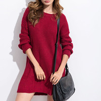 MUQGEW New Arrival Autumn Winter Women Casual Cute Solid Loose Long Sleeve Loose O Neck Knitted