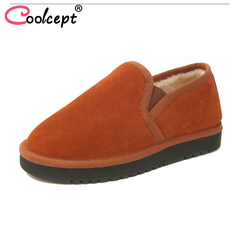 Coolcept 5 Colors Women Winter Shoes Real Leather Plush Fur Winter Warm Flats Boots Fashion Daily Ladies Shoes Size 35 43