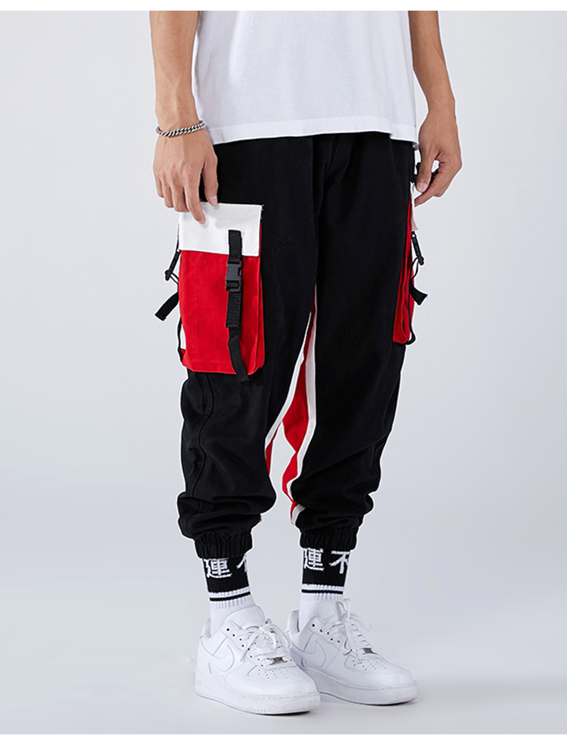 Aolamegs Men Side Strip Track Pants Pocket Pants Men Elastic Waist Sweatpants Casual Streetwear Hip Hop Men High Street Pants (13)
