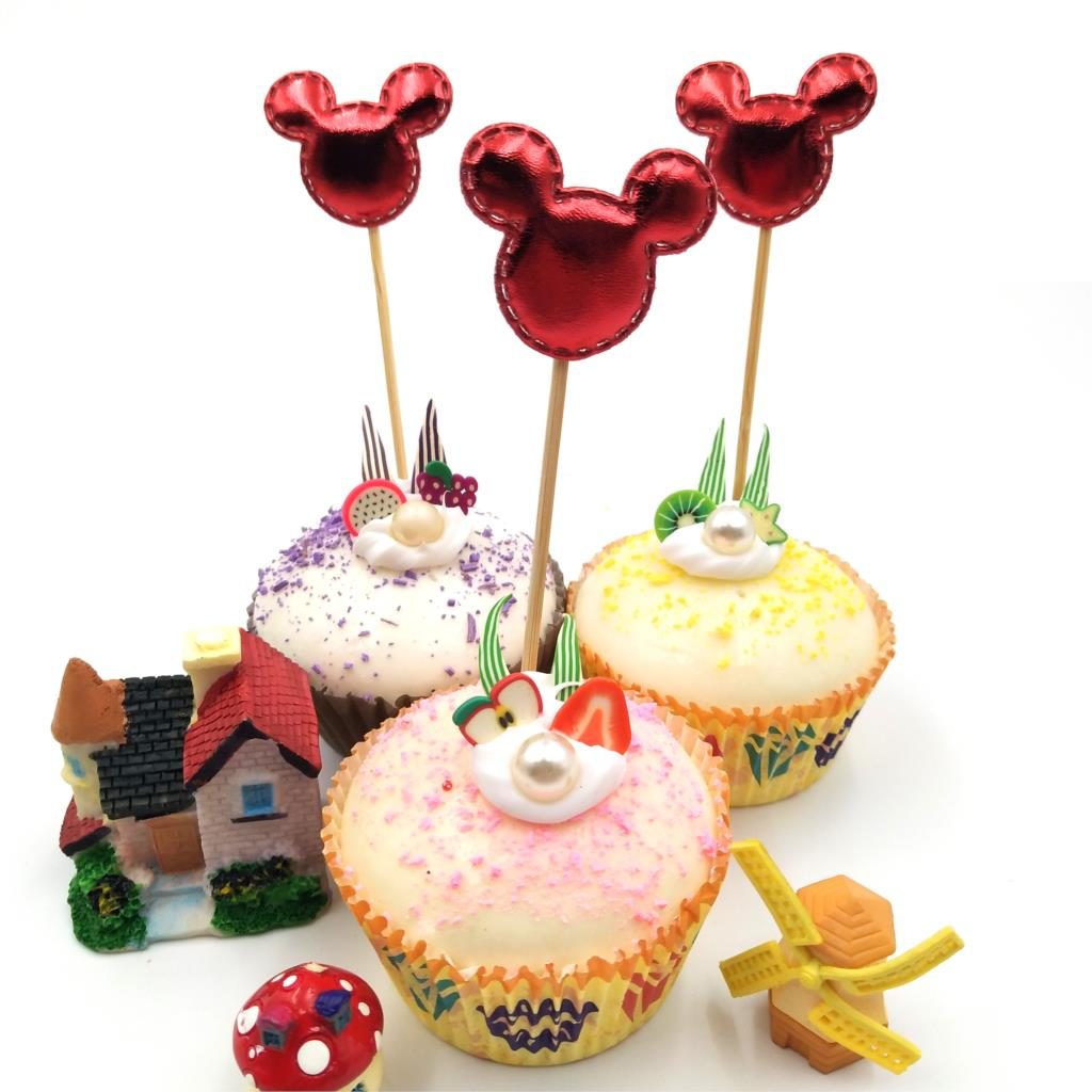 Swell 5Pcs Lot Red Mickey Mouse Cupcake Toppers Birthday Party Birthday Cards Printable Riciscafe Filternl