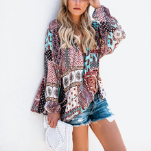 Women Floral Loose Chiffon Blouse Vintage Kimono Cardigan Boho Chiffon Coat Wome