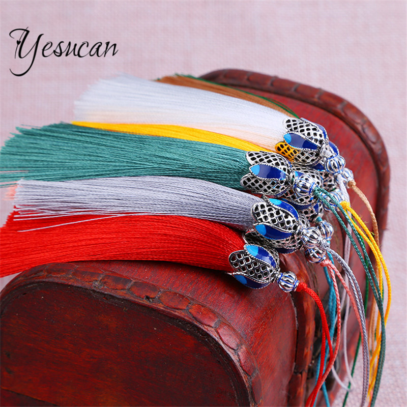 Yesucan 2pcs 18cm Antique Blue Crown Caps Silk Tassels Earrings Charms Pendant Satin Tassels DIY Necklaces Handmade Accessories