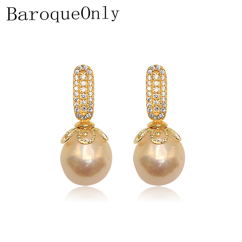 BaroqueOnly Edison pearls 925 Silver LOVELY genuine freshwater pearls stud earrings diamond earrings SUPER SHINING ...
