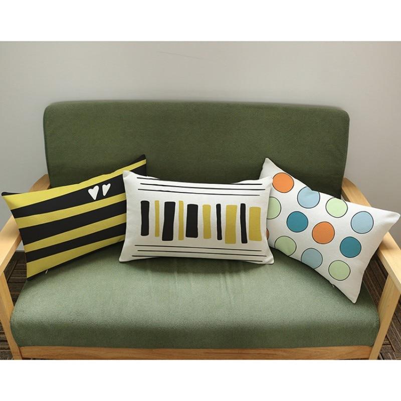 Modern Home Decoration Musical Notes Print Yellow Rectangle Waist Pillow Cushion Cover Cotton Linen Car Pillows 30*50 Cm Home & Garden
