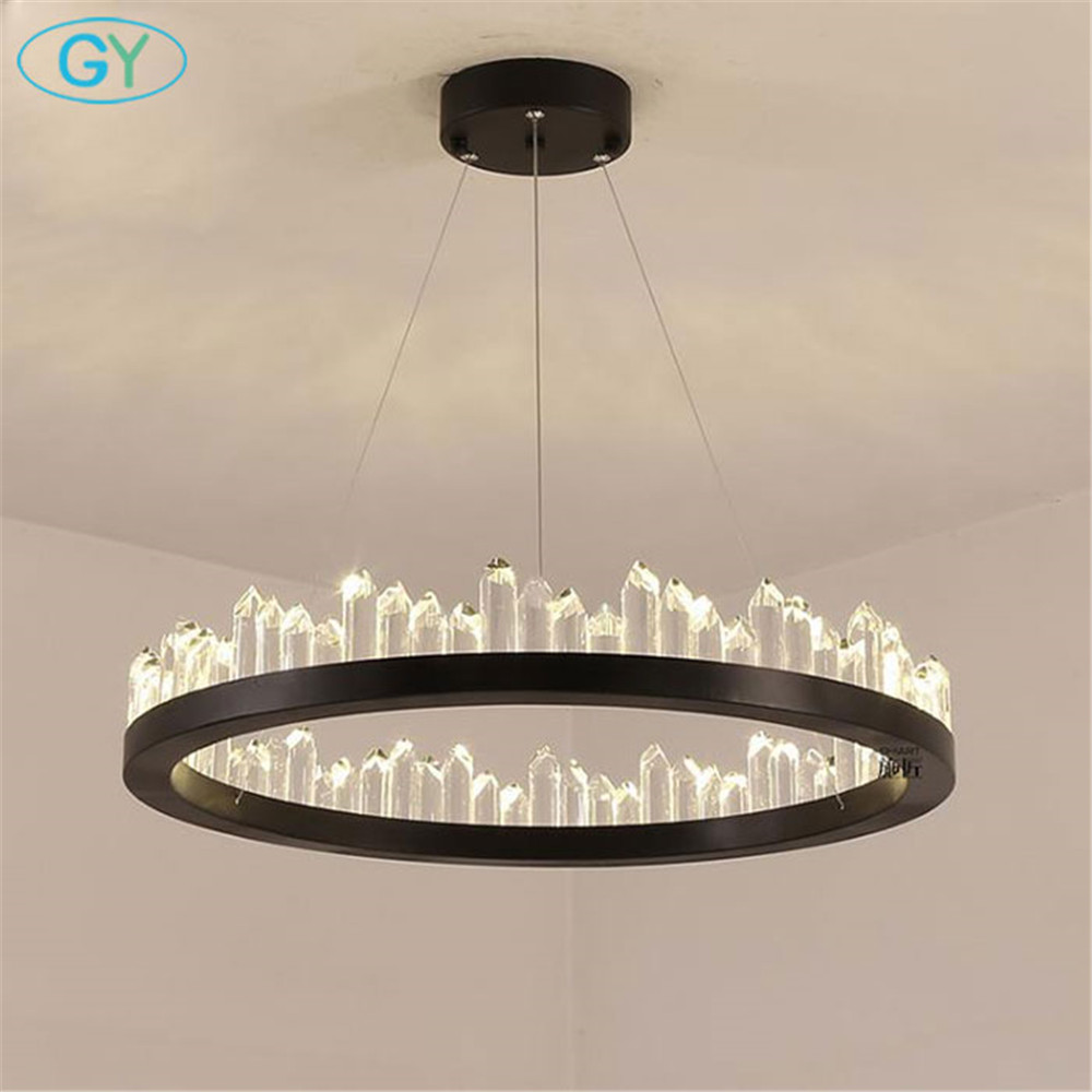 Modern led up chandeliers, D40cm D60cm D80cm new rings crystal lustre chandelier lighting, industrial black ceiling hanging lamp