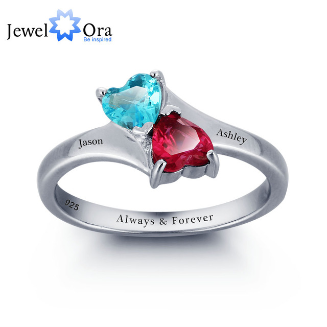 Personalized Infinite Love Promise Ring Double Heart Stone 925 Sterling Silver Jewelry Free Gift Box (JewelOra RI101789)