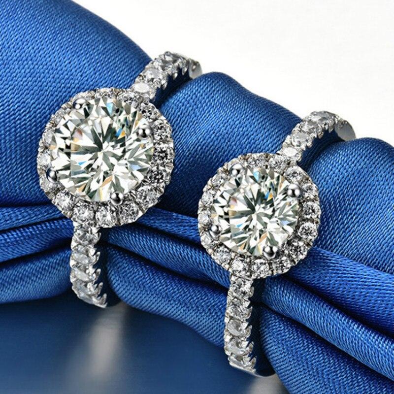 1.5ct Carat bagues de fiançailles pour femmes 5A haute qualité SONA CZ 925 bagues de mariage en argent Sterling femelle bijoux de luxe