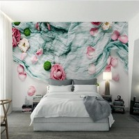 Custom Large Fresco 3d Forest System Nordic Style Textile Cloth Rose Dry Flower Background Wall Non