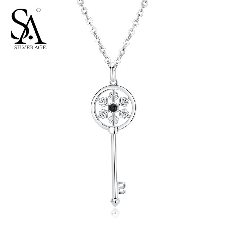 SILVERAGE Real 925 Sterling Silver Gemstone Necklace for Women 2018 New Snowflake Key Necklace & Pendant Party Jewelry graceful rhinestone snowflake pendant necklace for women
