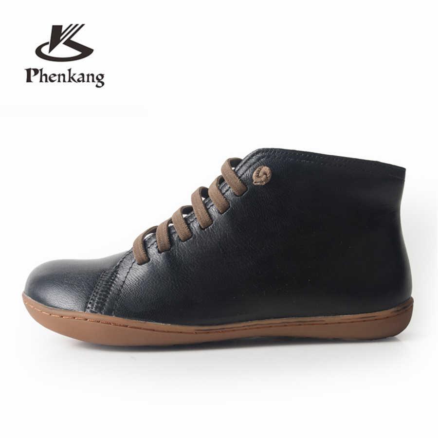 Botas de invierno de piel de oveja genuina casual tobillo cómodo calidad suave hecho a mano zapatos planos negro amarillo rojo con piel
