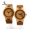BOBO BIRD F29 Ladies Bamboo Watches Engraved Wolf Deer Bamboo Dial Womens Quartz Wristwatch in Gift Box