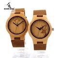 BOBO PÁSSARO F29 Senhoras Relógios De Bambu Gravado Lobo Veados Bambu Dial Mulheres Quartz Relógio de Pulso na Caixa de Presente