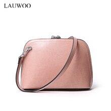 LAUWOO neue mode kuh leder messenger bags für frauen Luxury brand design kleine schulter bag harte schale solide Corssbody tasche