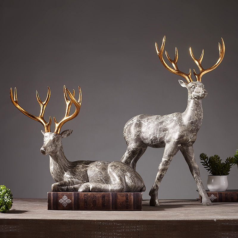 Modern Abstract Elk Sculpture Animal Resin Statue Geometry Nordic Marble Texture Elk Gift Home Decoration AccessoriesModern Abstract Elk Sculpture Animal Resin Statue Geometry Nordic Marble Texture Elk Gift Home Decoration Accessories