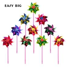 Купить с кэшбэком EASY BIG 100Pcs/Lot Plastic Windmill Pinwheel Wind Spinner Kids Toy Garden Lawn Party Decor Toy Gift For Boys Girls Baby TH0027