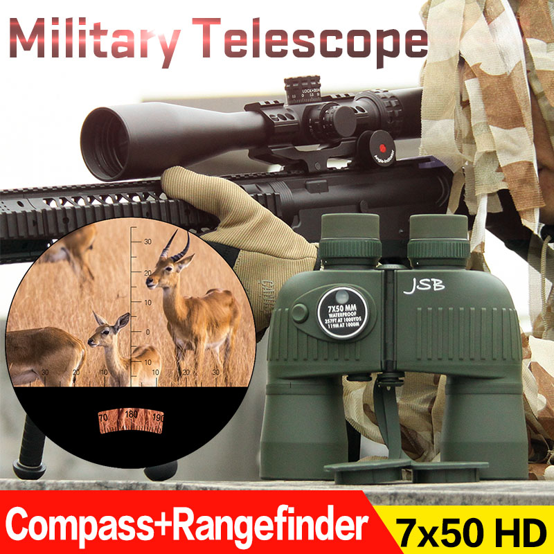 лучшая цена Tactical Military Compass Rangefinder 7x50 IPX6 Waterproof Binoculars Telescope For Hunting HS3-0043