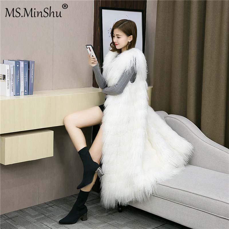 MS.MinShu Genuine Fur Vest Long Coat Winter Mongolian Lamb Fur Vest Waistcoat Real Fur Vest Fluffy Fur Gilet Female Fashion coat