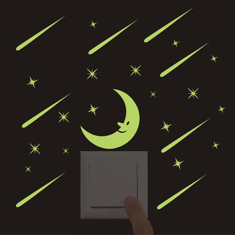 New 3D Luminous Cartoon Switch Sticker Glow in the Dark Fluorescent Moon meteor shower wall Sticker for Kids Room Home Decor