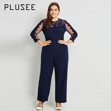 1d33788cf3a Plusee Jumpsuit Plus Size 3XL 4XL Women 2017 New Navy Casual Slim Solid  Backless Patchwork Mesh Lace Plain Plus Size Jumpsuit