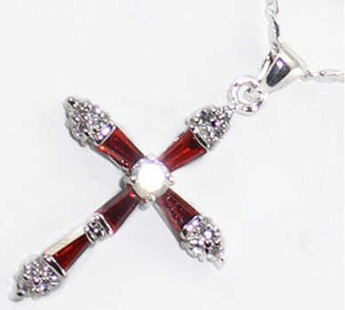 Jolie plaque en or blanc zircon cubique cristal pendentif Crossic chaîne 18 pouces> joli bijoux de mariage pour femmes joli