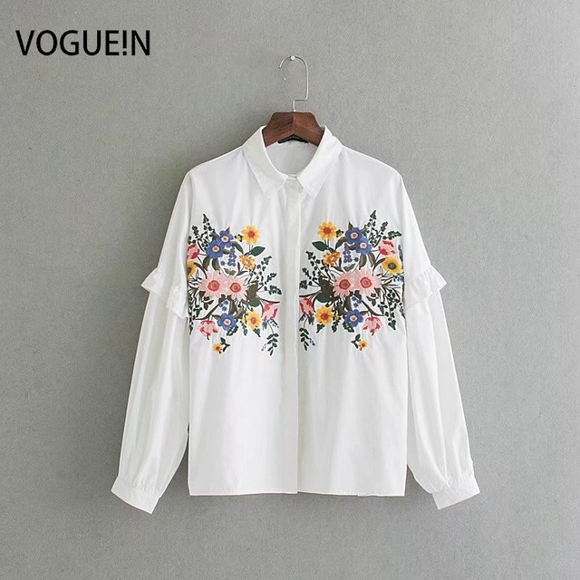02fc51522 VOGUEIN New Womens Ladies Floral Embroidered Long Sleeve Button Down Shirt  Blouse Tops Black White