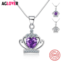 купить AGLOVER 925 Sterling Silver Necklace Queen Classic Royal Purple Crown Shape Pendant Necklaces with Crystal Women Wedding Jewelry дешево