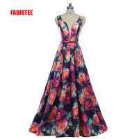 FADISTEE New arrival Gorgeous style dress evening prom party floral print pattern Vestido de Festa sexy V neck long style dress