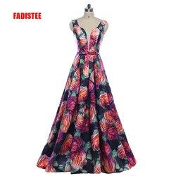 Fadistee nova chegada lindo estilo vestido de noite baile de formatura festa floral impressão padrão vestido de festa sexy com decote em v longo estilo