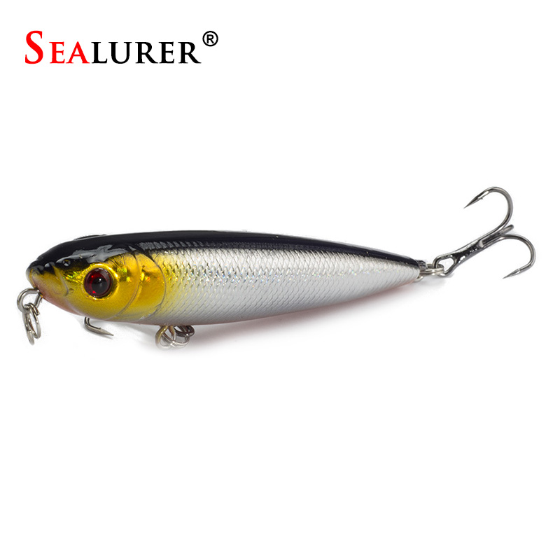 SEALURER Winter Fishing Lure 8CM 9G Pencil Wobbler Lure 6# Treble Hooks Artificial Hard Bait Fishing Tackle 5 Colors Available