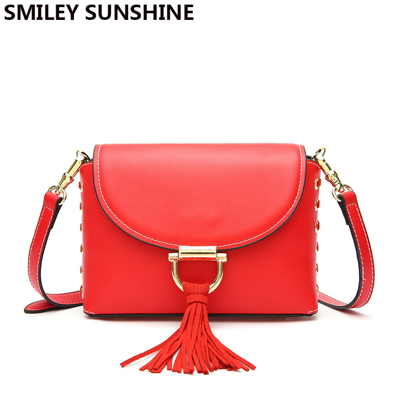 SMILEY SUNSHINE Genuine Leather Women Crossbody Bags 2018 Luxury Fashion Tassel Ladies Handbags Female Red Messenger
