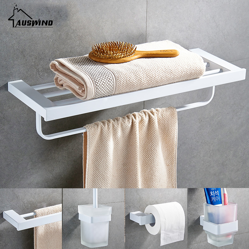 White 304 Stainless Steel Bath Hardware Hanger Set Package Towel Rack Bar Paper Holder Shelf Brush Bathroom Accessories Sj10 white european bathroom accessories stainless steel towel rack paper holder towel bar bathroom hardware package ym010