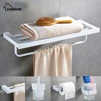 White 304 Stainless Steel Bath Hardware Hanger Set Package Towel Rack Bar Paper Holder Shelf Brush Bathroom Accessories Sj10